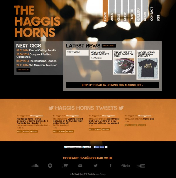New Haggis Horns Website
